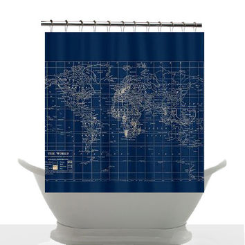 Decorative Shower Curtain - Navy Blue and Cream Vintage World Map Shower Curtain - Home Decor - Bathroom, Blue, Dark, Travel, masculine