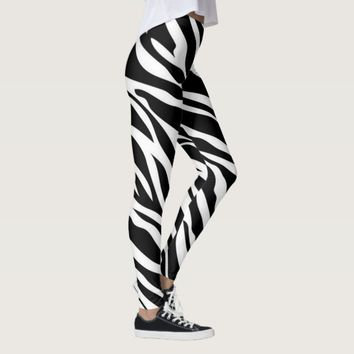 Zebra Strips Pattern Print Leggings
