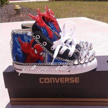 QIYIF spider man theme inspired custom spiked converse