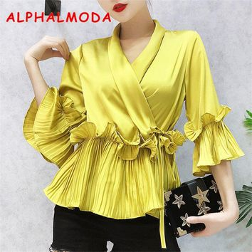 ALPHALMODA 2018 New Women Vintage Blouses Shirt Flare-sleeved Pleated Hem V-collar Fashion Satin Shirts 4colors