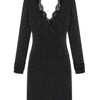 Lace Panel Long Sleeve Knitted Midi Dress