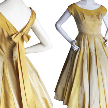 "Vintage 50s Gold/Yellow Full Skirt Party Dress | Women's XS/S 25"" Waist