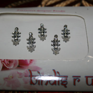 SILVER Rhinestone Bindis | White Crystal | Indian Dot Crystal Bindis