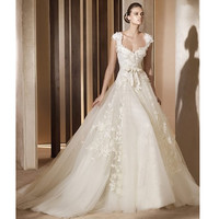 Glamorous White Lace Cap Sleeve Summer Spring Fall Wedding Gowns SKU-118264