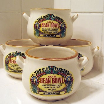 Four  Bean Bowls Old Farmer's Almanac vintage 1994 Farmhouse Country Cottage Cream Red Yellow Black Individual Serving Bowl