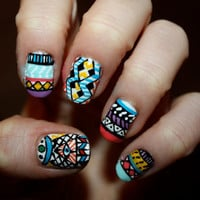 Tribal/Aztec Illuminati Nail Art  Set of 24 False by ZebberNails on Etsy