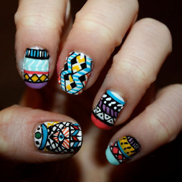 Tribal/Aztec Illuminati Nail Art Set of 12 by ZebberCollective