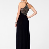 Black Beaded Back Gown - Dazzling Embellishments - Prom