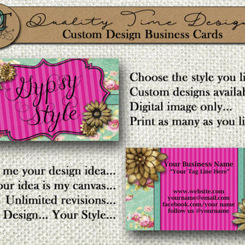 Gypsy Collection Designs | Standard Business Card | 3.5 x 2 in | Double Side Available | Business Card Design | Custom or Premade Design |