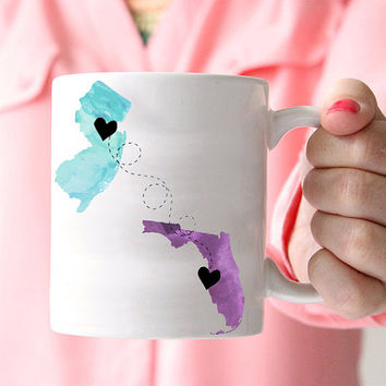 Friendship State Mug gift, Long Distance Mug, Gift for Bestie, best friend, Friend, Birthday Gift, Friend Quote, Friend Mug, Watercolor,