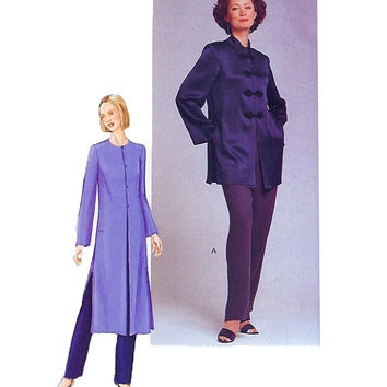 Women's Loose Fitting TUNIC w/ Side Slits Long Sleeves Frog Closures & Tapered PANTS Bust 31.5 32.5 34 Vogue 7134 UNCUT Sewing Patterns