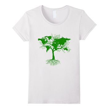 World Map Tree T-Shirt