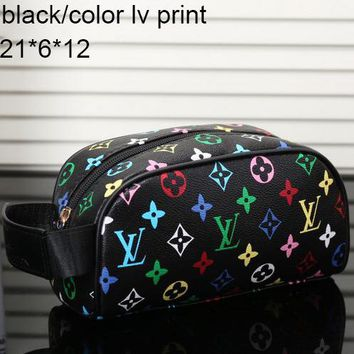 LV Louis Vuitton Women's Tide Brand Fashion High Quality Leather Tote F-MYJSY-BB Black/color lv print