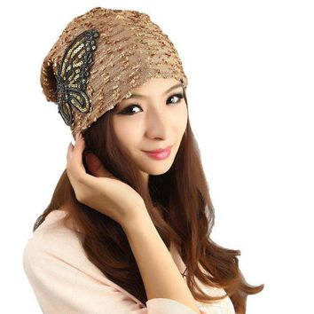 DCCKWQA Best Deal New Good Quality Women's Winter hat Lace Butterfly Beanie Lady Warm Cap Gift 1PC