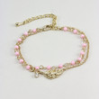 Pink Beads and Leaf Charm Stacking Bracelet