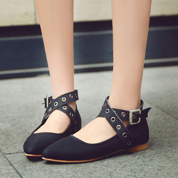 Pointed Toe Strappy Buckle Flat Shoes 9228