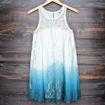 FINAL SALE - vanity vintage lace flowy dress - ombre teal