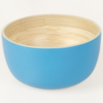 Coiled bamboo round serving bowls, blue