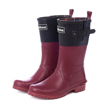 Women's Short Wellington Boots in Black and Burgundy by Barbour - FINAL SALE