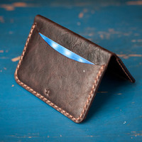 Hand Stitched Three Pocket Slim Horween Leather Wallet - espresso