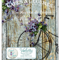 Shabby Chic Digital Collage - Vintage Bicycle, French Typography,Decoupage,Fabric Transfer,Paper Craft Supplies,Printable Image - Violettes