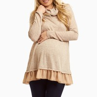 Mocha-Cowl-Neck-Chiffon-Trim-Top