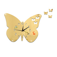 DIY Creative Decoration Butterfly Princess Mirror Quartz Wall Clock   B golden