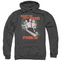 SHAUN OF THE DEAD/BASH EM-ADULT PULL-OVER HOODIE-CHARCOAL