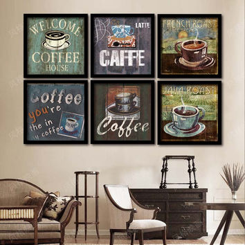 Square Wooden Rustic Framed Canvas Pop Art Posters Hipster Wall Decor for Coffee Club Cafe Home Kitchen Restaurant Food Kiosk Bakery Bistro Pitshop Diners Freemantle Flea Market DIY Retro Vintage Store Decor 23x23cm