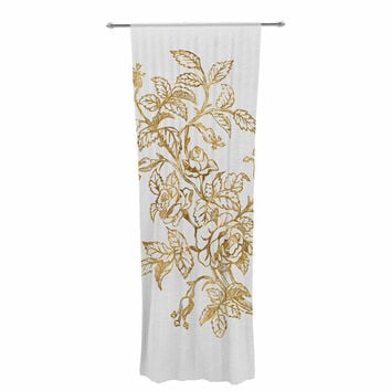 "888 Design ""Golden Vintage Rose"" Floral Digital Decorative Sheer Curtain"