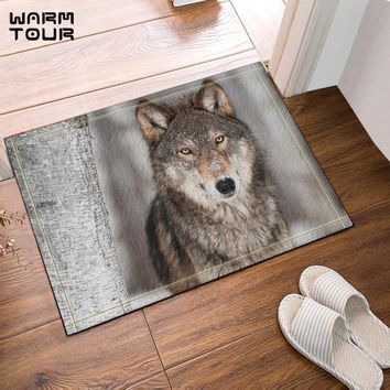 Autumn Fall welcome door mat doormat Warm Tour Wolf In Birch Forest Anti-slip  Home Decor Indoor Outdoor Entrance  Rubber Backing Bathroom Accessories AT_76_7