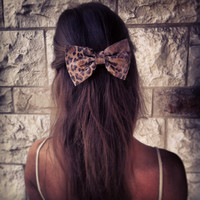 Leopard with a little touch of gold Bow - hair bow