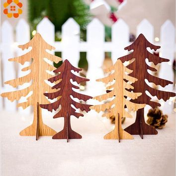 1PCS Christmas Wooden Tree  2 Sizes Pendants Ornaments DIY Ornaments Kid Gift Xmas Tree Ornaments For Christmas Party Decoration