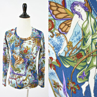 vintage 60s 70s sheer art NOUVEAU hippie FOREST fairy nymph shirt size XS/S