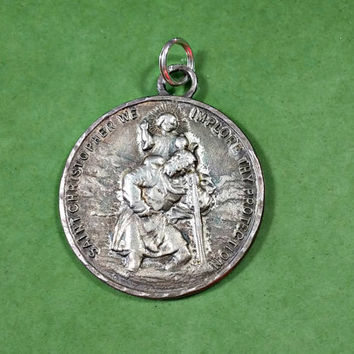 Vintage Religious Medal Saint Christopher Protection Catholic Religious Jewelry Sterling Silver Necklace Pendant Inscribed on Back 1953