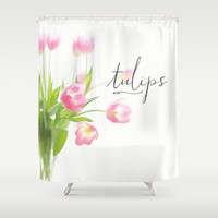 Pink tulips Shower Curtain by Sylvia Cook Photography