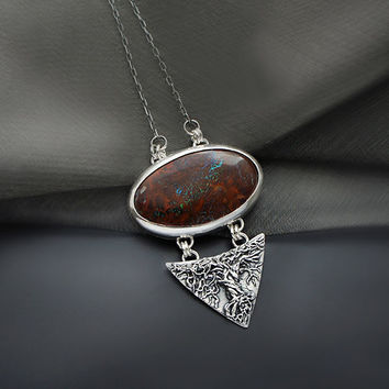 Silver Pendant With Boulder Opal
