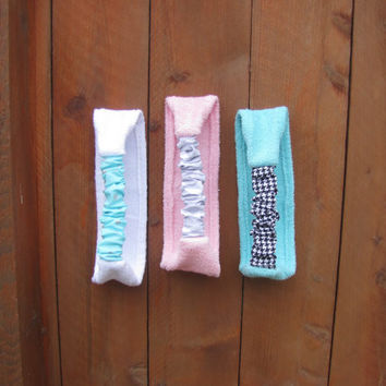 handmade set of 3 cotton terry cloth spa stretch headband. pink, white and tiffany blue terry cloth yoga pilates head wrap