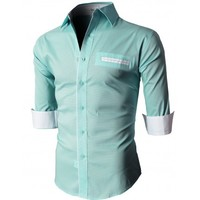 Doublju Men's Button Down Shirts With 3/4 Sleeves Pointed Collar (KMTSTL0209)