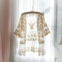 Boho gypsy Butterfly Lace short sleeves ruffles kimono Jacket , beige cream Lace blouse fashion Clothing, beach coverup, bohemian sheer