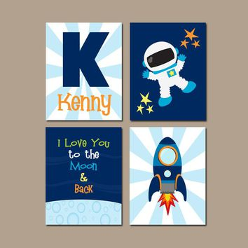 SPACE Wall Art, Outer Space Theme Bedroom Pictures, Astronaut Rocket, Boy Nursery Decor, CANVAS or Print, I Love You to the Moon, Set of 4