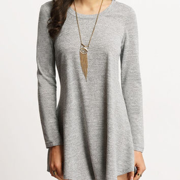 Grey Casual T Shirt Long Sleeve Dress
