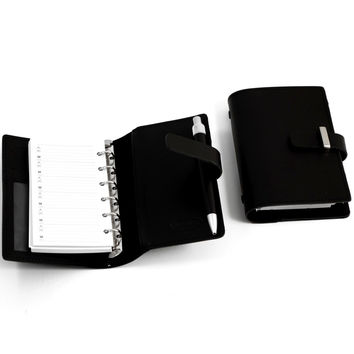 Agenda Book w/ Pen. Black Leather, T.P.