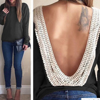 Black Women's Long Sleeve O-neck Backless Tops Shirt Blouse