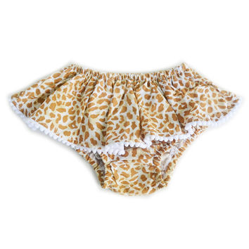 Leopard Print Skoomer for infant and toddler girl / Cute handmade skirt, ruffles, colorful bloomer, diaper cover. Perfect for your princess!
