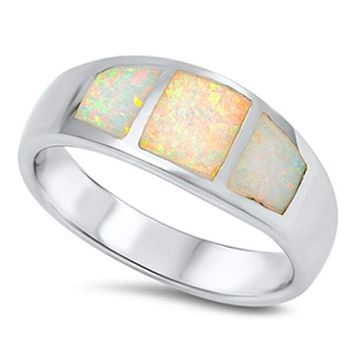 Wide Band White Opal Inlay Thumb Ring Sterling Silver