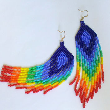 rainbow style beaded jewelry-colorful seed bead earrings-earrings with fringe