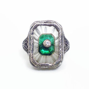 Art Deco Ring, Camphor Glass, Emerald Green, Sterling Silver, Filigree Metal, Antique Jewelry