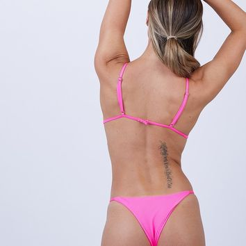 Willa String Side Skimpy Bikini Bottom - Heart Throb Pink