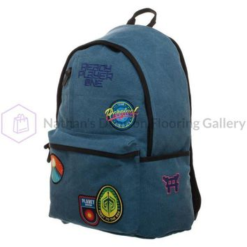 Soft Blue Patches Knapsack, Ready Player One Character Inspired Backpack with Gunter Patches, Gamer Life Gifts